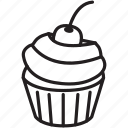 taste, cherry, cupcake, delicious, sweet, frosting icon