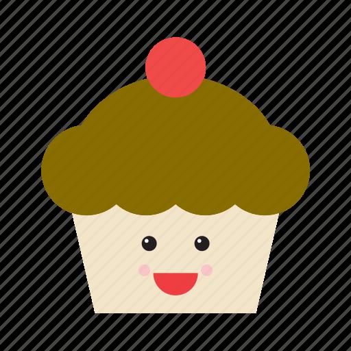cupcake, emoji, emoticon, food, happy, smiley, sweet icon