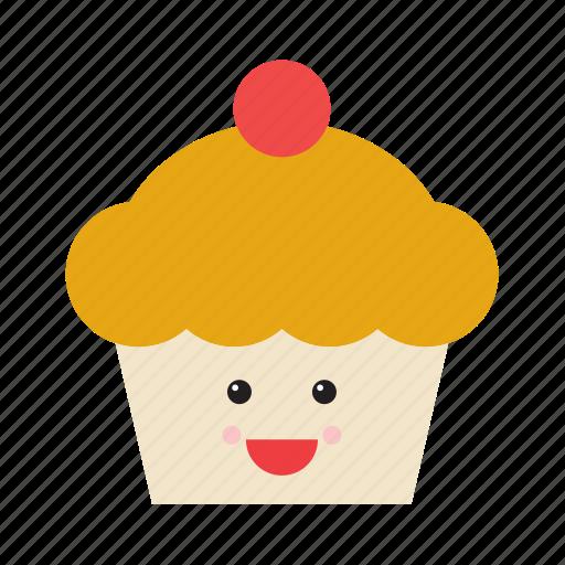 cupcake, emoji, emoticon, face, food, smiley, sweet icon