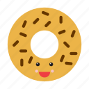 donut, doughnut, emoji, emoticon, face, food, smiley icon