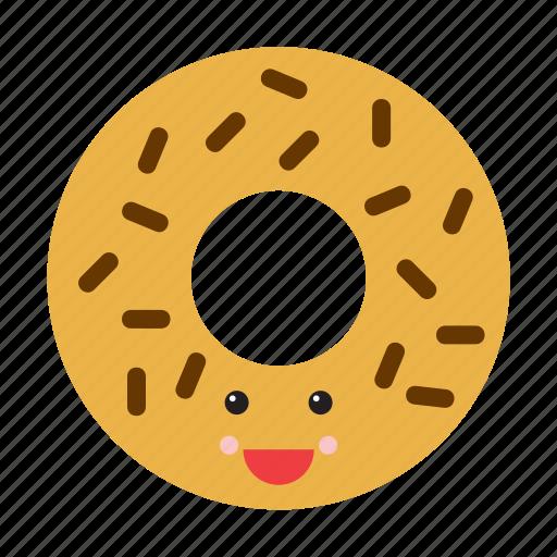 donut, doughnut, emoji, emoticon, face, food, smiley icon