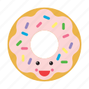 donut, doughnut, emoji, emoticon, food, happy, smiley icon