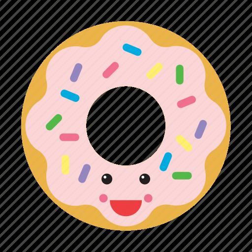 donut, doughnut, emoji, emoticon, food, happy, smiley icon