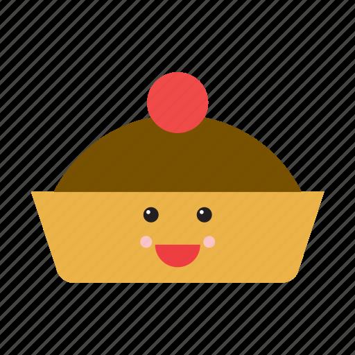 cake, emoji, emoticon, food, happy, pie, smiley icon