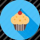 cake, cherry, cream, cupcake, cupcakes, snack, sweet icon