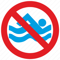 cancel, no, swim icon