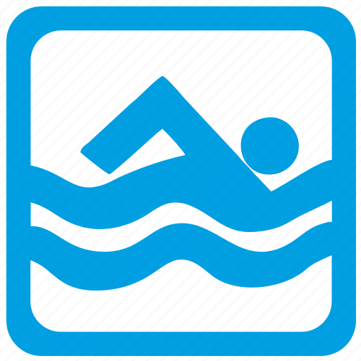 label, swim icon
