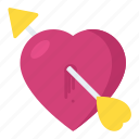 broken heart, cupid heart symbol, heart with arrow, love sickness, wounded heart icon