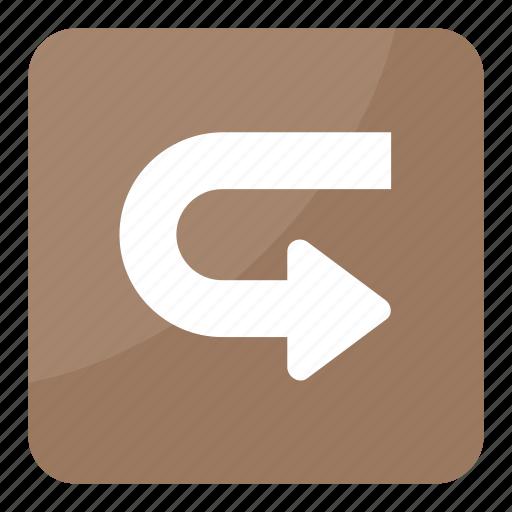 arrow, arrow indication, direction, right, u-turn icon