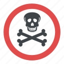 hazard symbol, poison symbol, skull and crossbones, toxic symbol, warning symbol icon