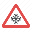 icy road, road conditions, road safety symbol, snow-covered road, snowfall warning icon