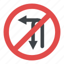 left turn and u-turn prohibited sign, no left turn, no u-turn, prohibitory sign, turn sign icon