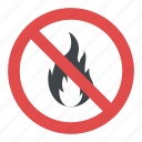 no fire flame sign, no fire sign, no open flame label, no open flame symbol, stop fire icon