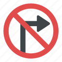 no right turn sign, right turn prohibited, road sign, traffic instructions, traffic sign icon