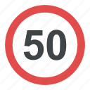 fifty km, speed limit ahead sign, speed limit sign, traffic sign, traffic symbol icon