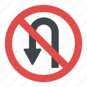 no u-turns, prohibitory sign, road sign, road sign in greece, traffic sign icon