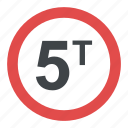 5t, prohibitory sign, road sign, road sign in greece, weight limit icon
