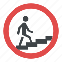 man walking upstairs, pedestrian underpass, road, sign, stepped access sign, underpass subway sign icon