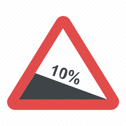 10%, road sign, steep descent, ten percent, traffic warnings, warning sign icon