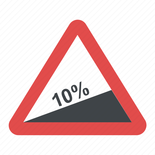 10%, road sign, steep ascent, ten percent, traffic warnings, warning sign icon