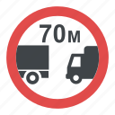 distance between vehicle sign, prohibitory sign, road sign, road sign in greece, traffic sign icon