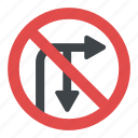 directional prohibitory sign, no right turn, no u-turn, right turn and u-turn prohibited sign, turn sign icon