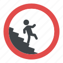 caution stairway sign, slippery stairs warning, stair fall hazard, staircase crash sign, stairs fall hazard symbol icon