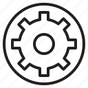 construction, design, gear, settings, tool icon