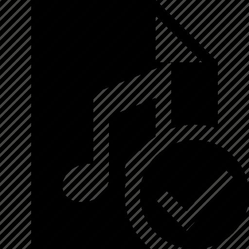 audio, document, file, music, ok icon