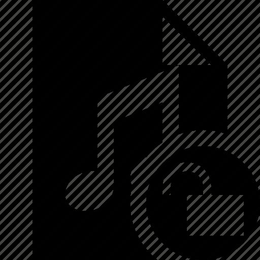 audio, document, file, music, unlock icon