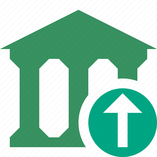 bank, banking, building, business, finance, money, upload icon