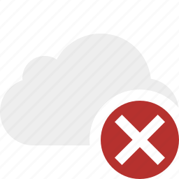 cancel, cloud, network, storage, weather icon