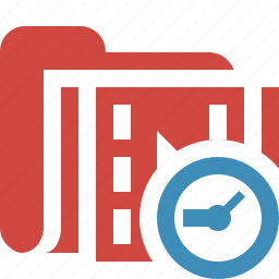 clock, film, folder, media, movie, video icon
