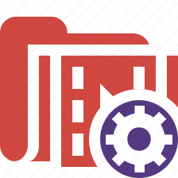 film, folder, media, movie, settings, video icon
