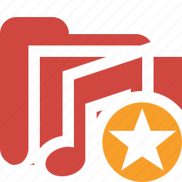 audio, folder, media, music, songs, star icon