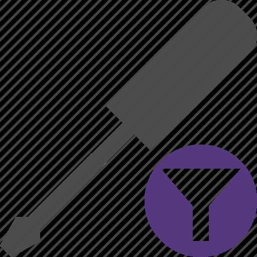 filter, repair, screwdriver, tool, tools icon