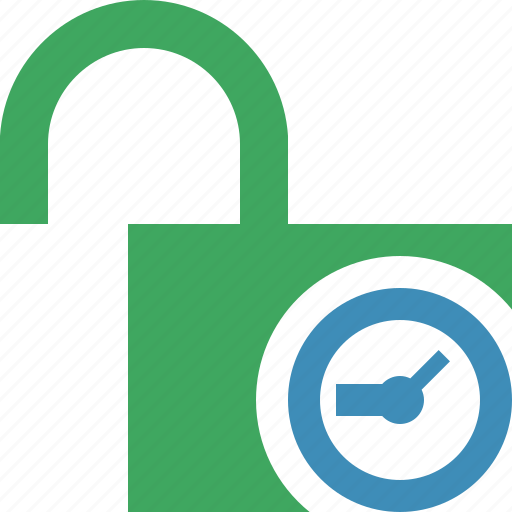 access, clock, password, protection, secure, unlock icon