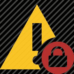 alert, caution, error, exclamation, lock, warning icon
