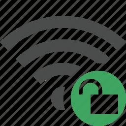 connection, fi, internet, unlock, wi, wifi, wireless icon