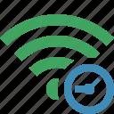 clock, connection, fi, green, internet, wi, wireless