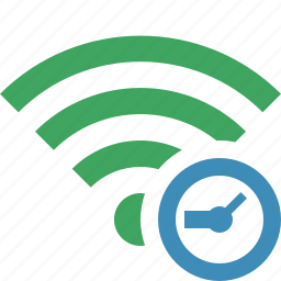 clock, connection, fi, green, internet, wi, wireless icon