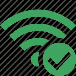 connection, fi, green, internet, ok, wi, wireless icon
