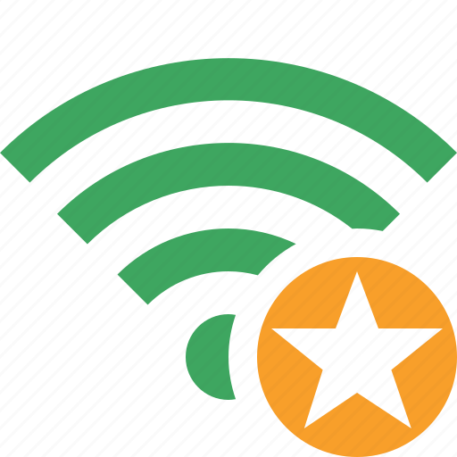 connection, fi, green, internet, star, wi, wireless icon