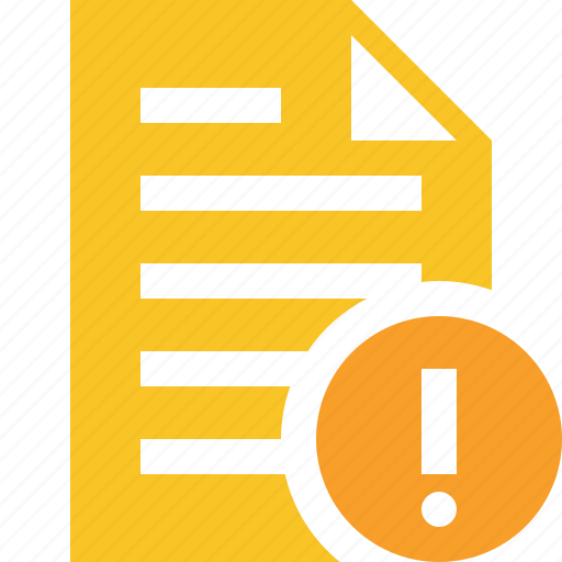 document, file, page, text, warning icon