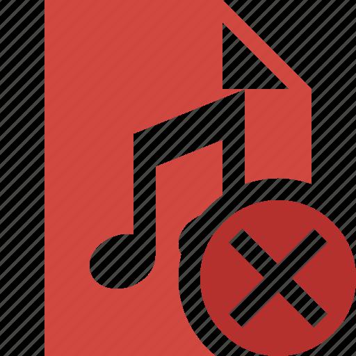 audio, cancel, document, file, music icon