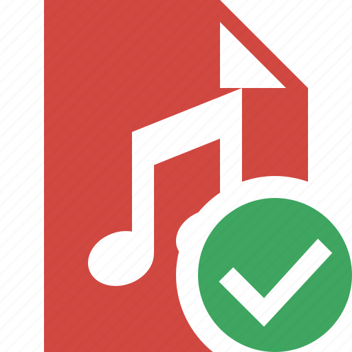 audio, document, file, music, ok icon