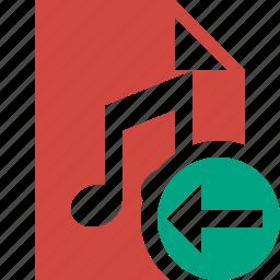 audio, document, file, music, previous icon