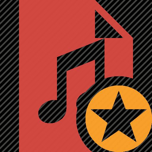 audio, document, file, music, star icon