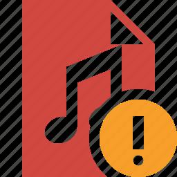 audio, document, file, music, warning icon