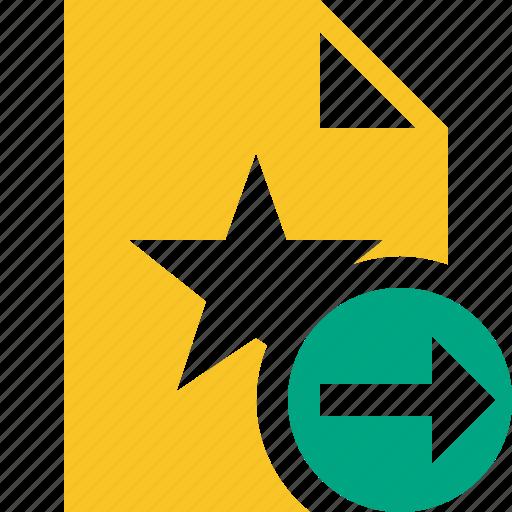 document, favorite, file, next, star icon